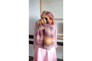 Вязаный шарф и берет женские Краски осени