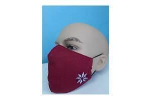 Защитная маска льняная с вышивкой (1)