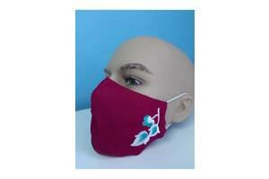 Защитная маска льняная с вышивкой (2)