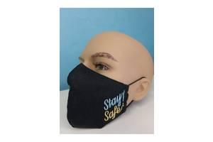 Защитная маска льняная с вышивкой (3)