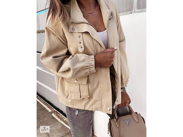 Женская куртка джинсовая бежевая SKL11-289874