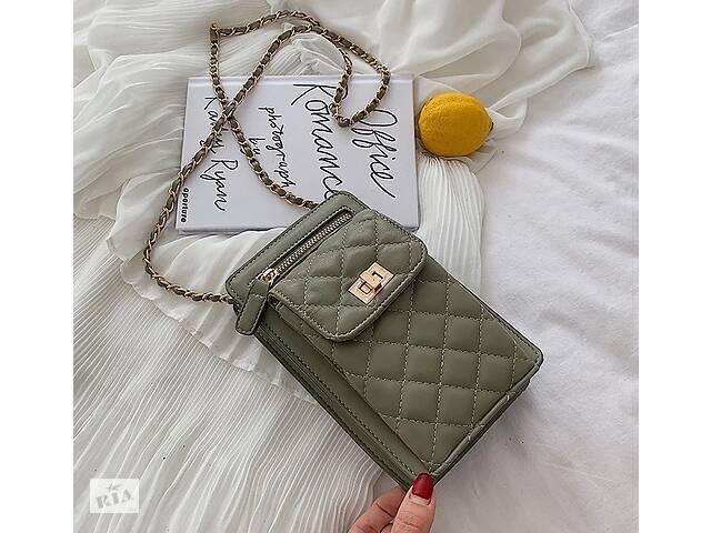 Женская мини сумочка клатч с цепочкой стеганная, маленькая сумка для девушек, модный женский кошелек-клатч Зеленый- объявление о продаже  в Днепре (Днепропетровск)