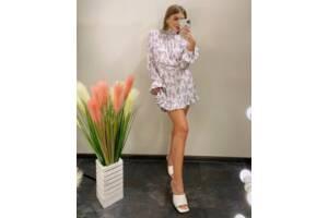 Женское белое платье принт SKL76-293902