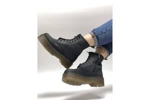 Женские кожаные ботинки Dr. Martens Jadon Black Crazy Horse (Доктор Мартинс Жадон черного цвета кожаные 36-40)