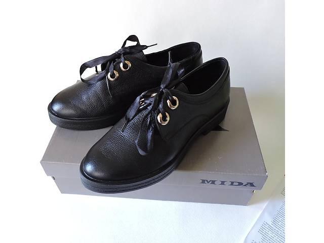 купить бу Женские кожаные туфли на платформе оксфорды mida в Киеве