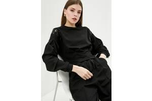 Женский свитшоты черного цвета с замшевой трикотажа