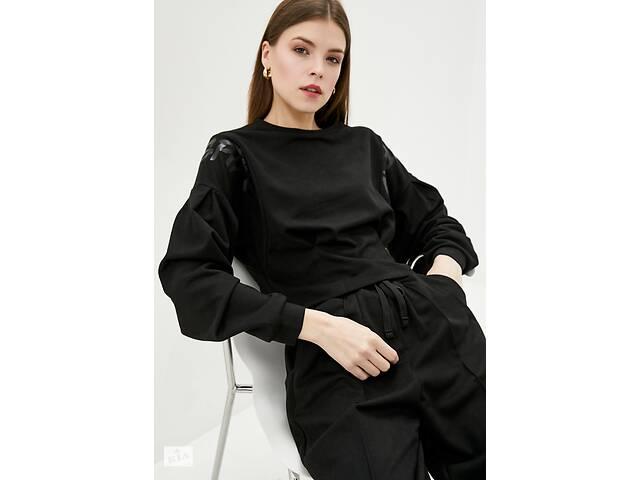 Женский свитшоты черного цвета с замшевой трикотажа- объявление о продаже  в Киеве