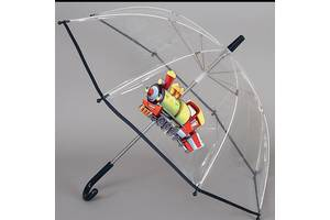 Зонт трость детский прозрачный механика Artrain паровозик