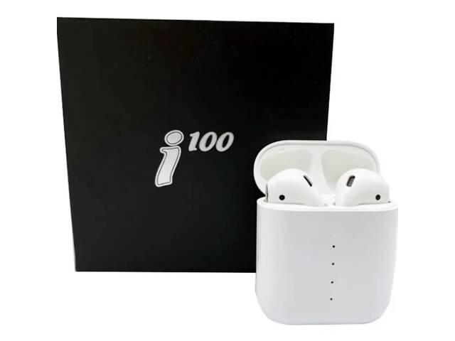 купить бу Беспроводные блютуз наушники i100 TWS с боксом для зарядки White (au071-hbr) в Киеве