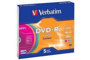 Диск DVD Verbatim 4.7Gb 16X Slim case 5 шт Color (43557)