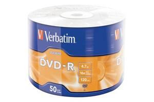Диск DVD Verbatim 4.7Gb 16X Wrap-box 50pk Extra MATT SILVER (43791)