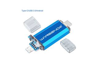 Флешка 3в1 USB 3.0  OTG  USB/ microUSB/ type C  32GB  для  Android, Windows, ПК