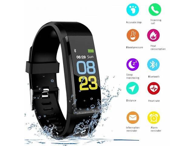 купить бу Фитнес-браслет Smart Band B05 С измерением пульса и давления, тонометр Black (BW3568) в Киеве