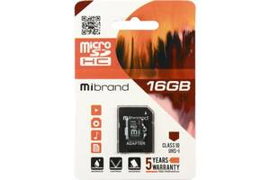 Карта памяти Mibrand 16GB microSDHC class 10 UHS-I (MICDHU1/16GB-A)