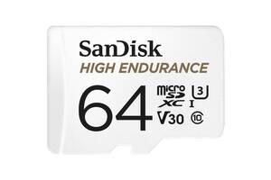 Карта памяти SANDISK 64GB microSDXC class 10 UHS-I U3 V30 High Endurance (SDSQQNR-064G-GN6IA)