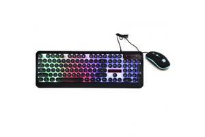 Комплект проводная игровая клавиатура и мышкой с RGB LED подсветкой Storm HK-3970 Черная