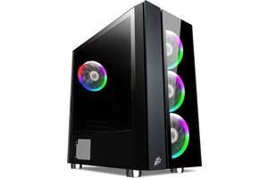 Корпус 1STPLAYER B7-E-R1 Color LED Black, Без БП (6634716)