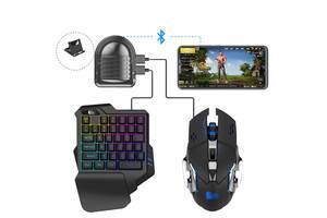 Мобильный игровой Bluetooth адаптер с аккумулятором и подставкой, игровой клавиатурой и мышкой Union Sundy PUBG Mobil...
