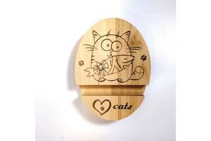 Подставка держатель под телефон смартфон планшет Love cats 9х12х2 см Мастерская мистера Томаса дерево