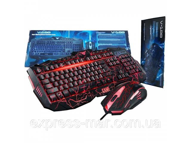 купить бу Профессиональная игровая клавиатура + мышь V100 с подсветкой в Харькове