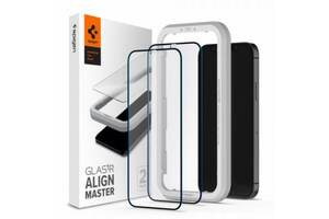 Скло захисне Spigen iPhone 12 mini Glas tR ALM FC (2Pack), Black (AGL01812)