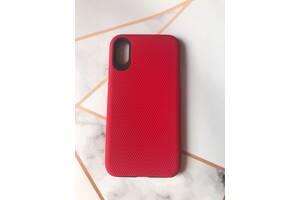 Силиконовый чехол с накладкой (двойная защита) для Apple iPhone X/Xs Красный