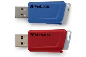 USB флеш накопитель Verbatim 2x32GB Store 'n' Click Red/Blue USB 3.2 (49308)