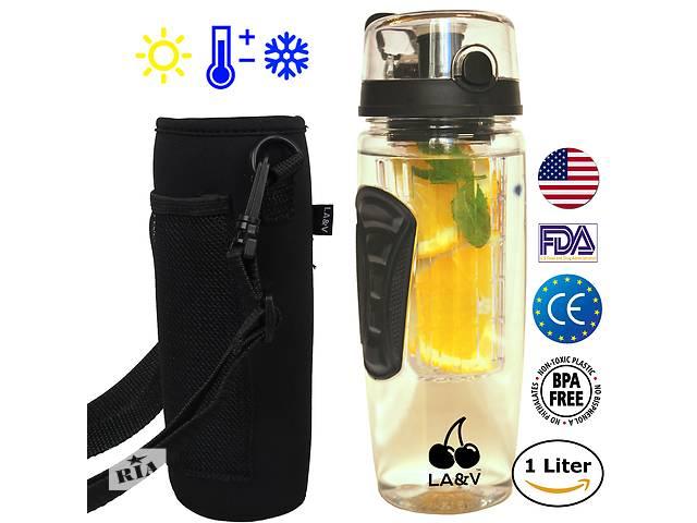 купить бу Cпортивная бутылка для воды LA&V 1000 мл с термо-сумкой в Киеве