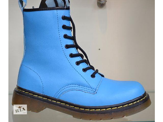 продам демисезонные кожаные ботинки голубого цвета р.38 про-во Польша (вишот) бу в Чернигове