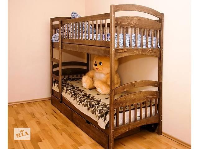 Двухъярусная деревяная кровать трансформер в комплекте ящики и ортопедические матрасы.- объявление о продаже  в Киеве