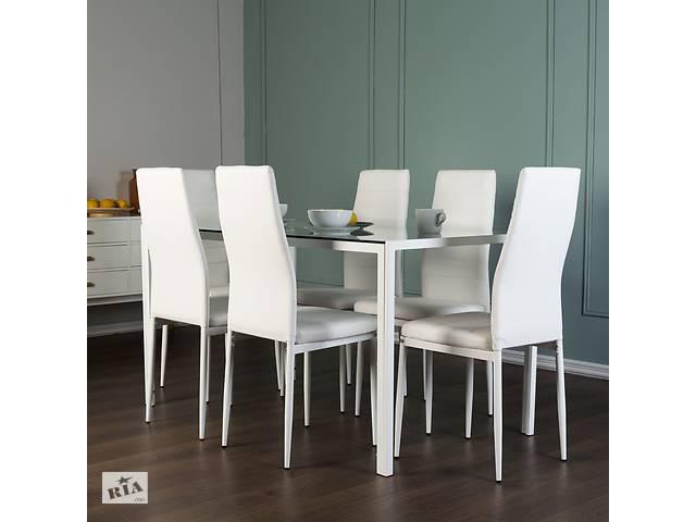 Столовый набор Neckon II стеклянный стол + 6 белых стульев- объявление о продаже  в Львове