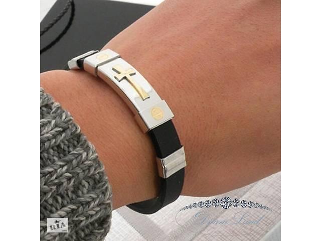 Стильный мужской браслет со стали на силиконовом ремешке, подарок для парня или девушки, любимому и любимой сюрприз- объявление о продаже  в Червонограде