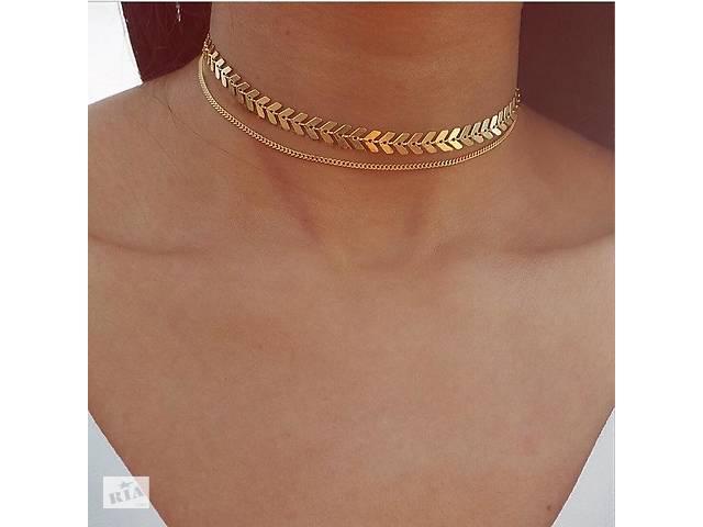купить бу Женское двухслойное ожерелье на шею (цепочка) в Днепре (Днепропетровск)