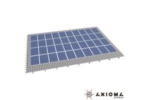 Система креплений на 56 панелей параллельно крыше, алюминий 6005 Т6 и нержавеющая сталь А2, AXIOMA energy