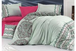 Комплект постельного белья Nazenin Acacia Mint Евро Сатин 200х220 см Малиновый с салатовым (psg_SA-3399)