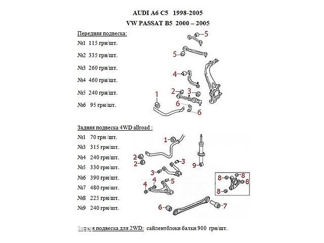 Сайлентблоки з поліуретану. Audi A6 C5 / Audi A6 C4 / Audi 80- объявление о продаже  в Києві
