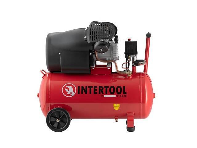 Компрессор поршневой двухцилиндровый 100 л, 2.23 кВт, 220 В, 8 атм, 354 л/мин INTERTOOL PT-0005