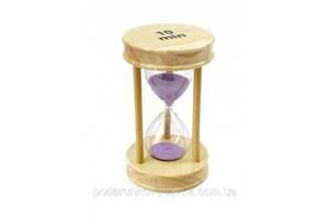 """9290194 Песочные часы """"Круг"""" стекло + светлое дерево 10 минут Сиреневый песок"""