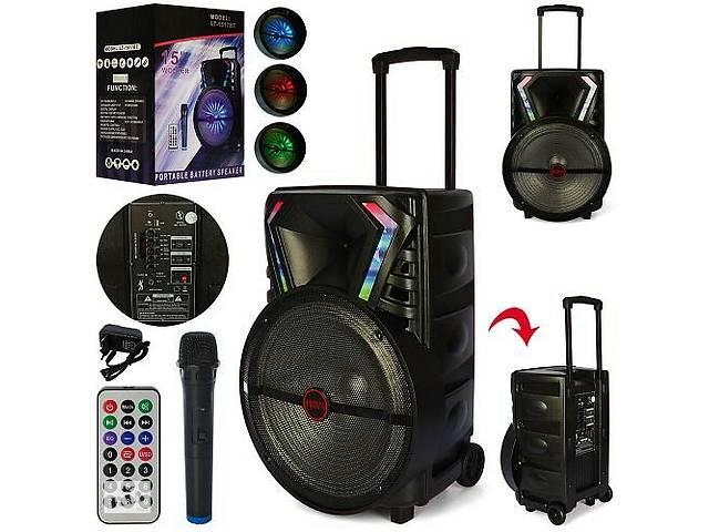 продам Bluetooth колонка-чемодан на колесах с ручкой портативная, аккумуляторная LT-1517BT в комплекте микрофон бу в Одессе