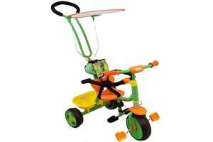 Детский трехколесный велосипед с родительской ручкой, салатовый (4205). Подарок детям 3-5 лет