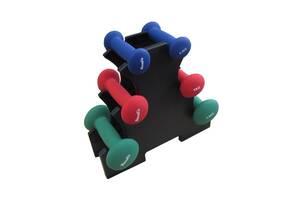 DR102-2   Набір гантелей в пластиці 6 кг cо стійкою