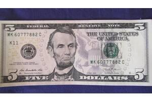 Купюра коллекционная 5 долларов США с денежным магнитом на Подарок! Сумы!