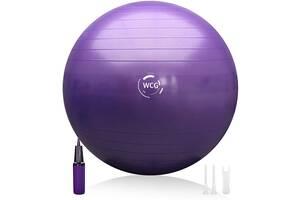 М'яч для фітнесу (фітбол) WCG SPORT 55 см Anti-Burst 300кг гімнастичний + насос