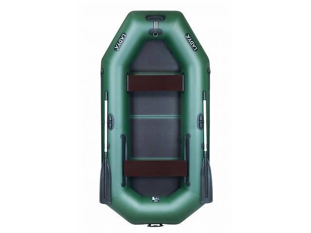 Надувная лодка Ладья ЛТ-270ЕВ двухместная гребная с веслами и передвижным сиденьем 2.7 м слань-книжка (lad_ЛТ-270ЕВ)