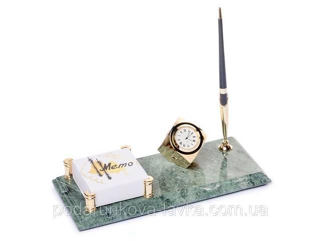 бу Подставка держатель для бумаг BST 540071 24х12 мраморная настольная с часами для ручки в Киеве