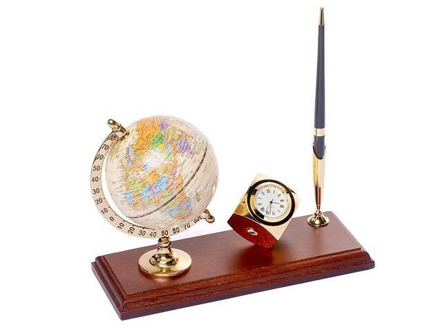 Подставка на стол руководителя BST 540061 24х10 деревянная для ручки с часами и глобусом- объявление о продаже  в Дубно