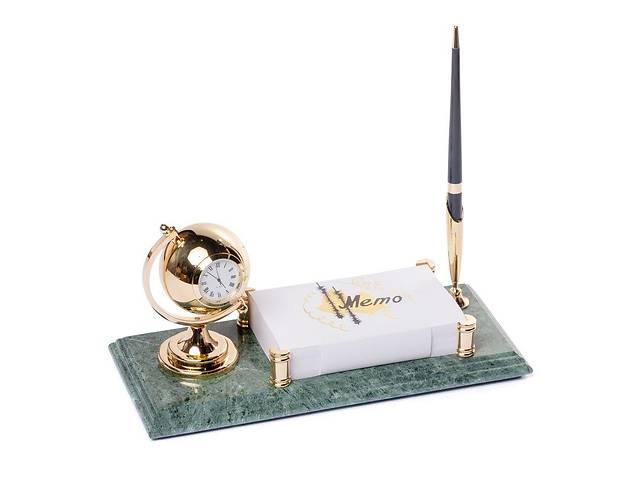 продам Подставка на стол руководителя BST 540069 24х12 с ручкой с держателем для бумаг и часами мраморная бу в Дубно