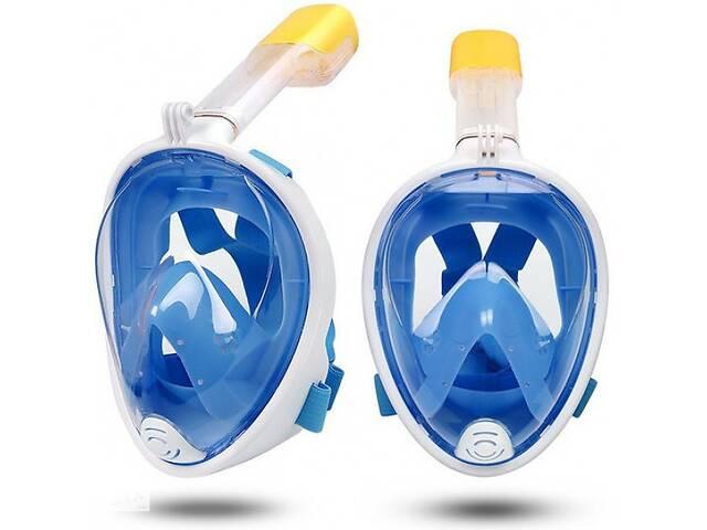 Полнолицевая панорамная маска для плавания снорклинга Синяя  (размер L XL) с креплением для камеры Blue