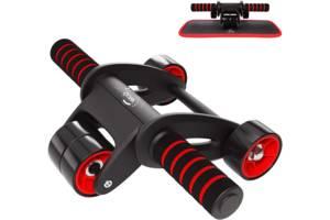 Ролик колесо тренажер для пресса WCG SPORT S1 с возвратным механизмом для мышц ног бедер и плеч + коврик для коленей