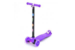 Самокат дитячий триколісний з підсвічуванням і ножним гальмом iTrike Scooter, фіолетовий